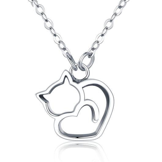 Heart Shaped Cat Necklace 18 K Gold plating and 925 sterling silver.Catlive.1