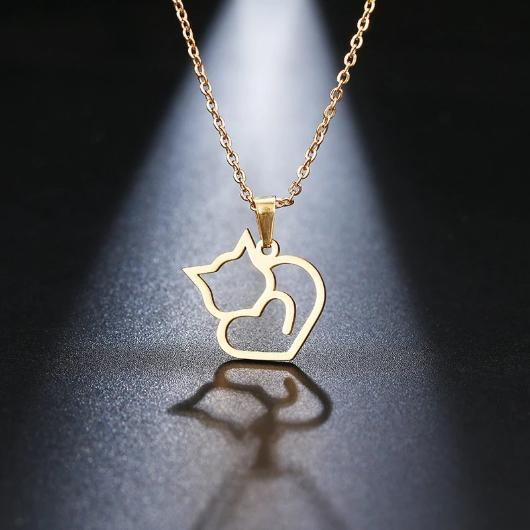 Heart Shaped Cat Necklace 18 K Gold plating and 925 sterling silver.Catlive.2