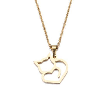 Heart Shaped Cat Necklace 18 K Gold plating and 925 sterling silver.Catlive.3