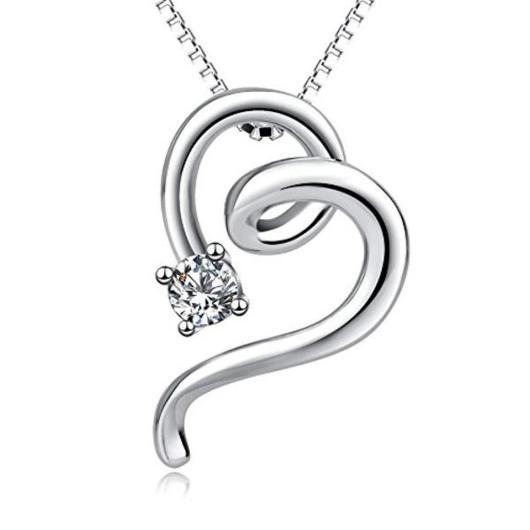 Heart Shaped Cat Pendant Necklace in 925 Sterling Silver.Catlive.1