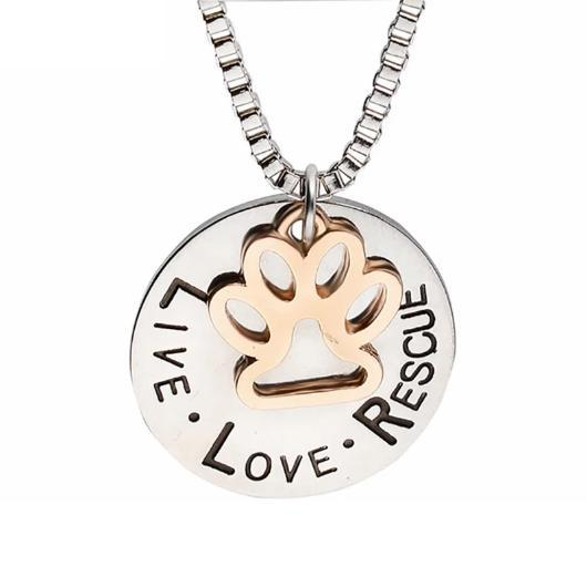 'Live Love Rescue' - Silver Footprint Cat Necklace.Catlive.1
