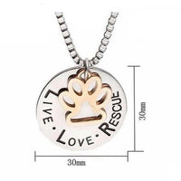 'Live Love Rescue' - Silver Footprint Cat Necklace.Catlive.2