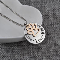 'Live Love Rescue' - Silver Footprint Cat Necklace.Catlive.3
