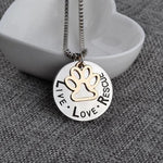 'Live Love Rescue' - Silver Footprint Cat Necklace.Catlive.4