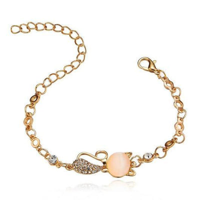 Opal Cat Bracelet with in 14k Rose Gold.Catlive.1