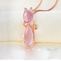 Opal Cat Necklace for Women 14k Rose Gold.Catlive.2
