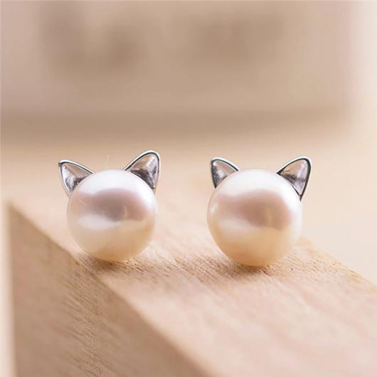 Pearl Cat Earing in 925 Sterling Silver.Catlive.2