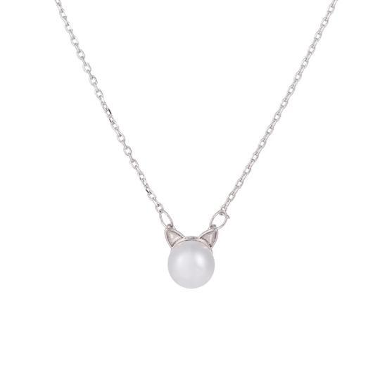 Pearl Cat Necklace in Sterling Silver.Catlive.1