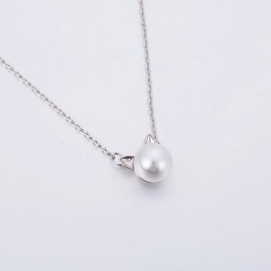 Pearl Cat Necklace in Sterling Silver.Catlive.2