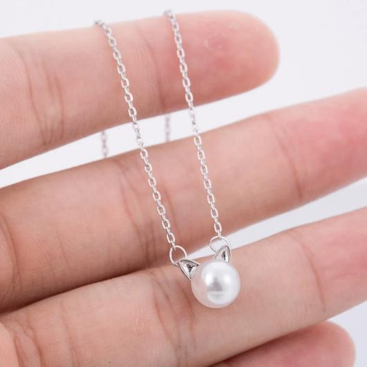 Pearl Cat Necklace in Sterling Silver.Catlive.4