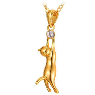 Playful Golden Cat Necklace Both in 18k Gold and 925 Sterling Silver.Catlive.1