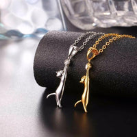 Playful Golden Cat Necklace Both in 18k Gold and 925 Sterling Silver.Catlive.4