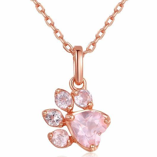 Rose Gold Cat Paw Necklace.Catlive.1