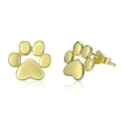 Cat paw Earrings in 925 sterling silver and 18 k gold and Rose Gold - Supportcatlive