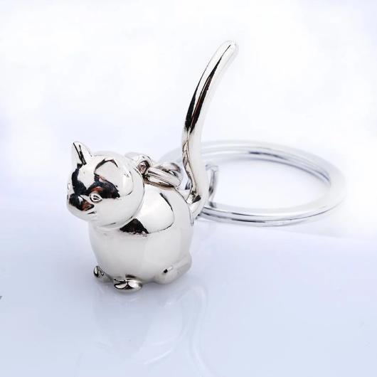 Silver Cat Keychain in 925 Sterling Silver.Catlive.1