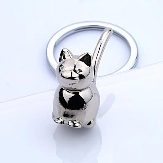 Silver Cat Keychain in 925 Sterling Silver.Catlive.3