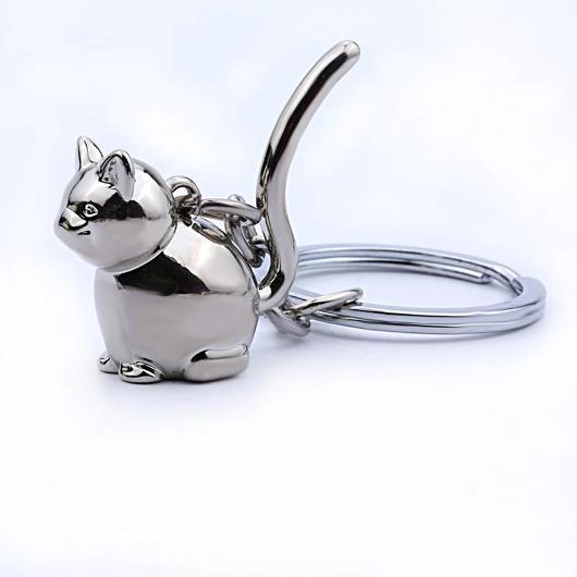 Silver Cat Keychain in 925 Sterling Silver.Catlive.4