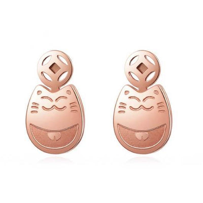 Smiley Cat Earring in 14k Gold.Catlive.1