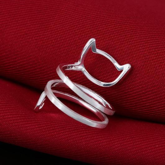 Sterling Silver Helical Cat Ring.Catlive.2