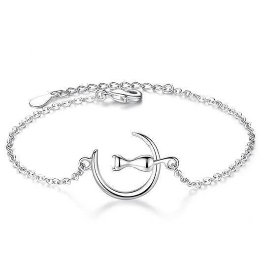 The Cat Sitting On The Moon Sterling Silver Bracelet.Catlive.1