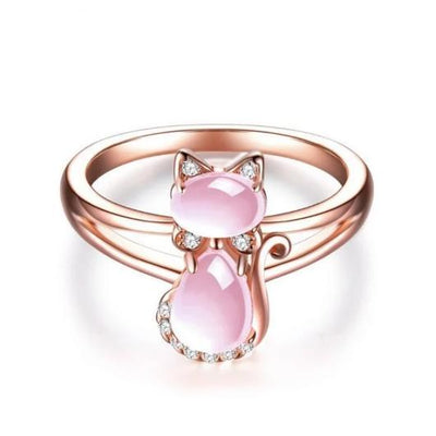 The Pinky Opal Cat Ring in 14k Rose Gold.Catlive.1