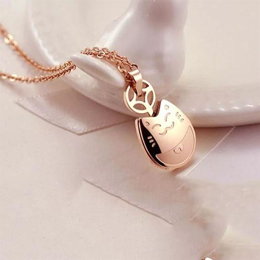 The Smiley Cat Necklace in 14k Rose Gold.Catlive.2