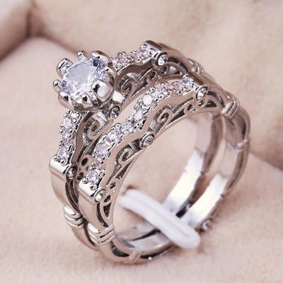 925 sterling Silver Rings Set Engagement  Wedding Ring for Couples