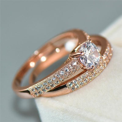 14k Gold Ring Crystal Jewelry Anniversary Gift Female Wedding Ring