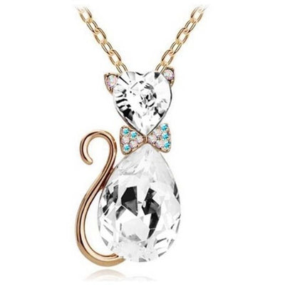 Sterling Silver Cat Necklace for Women Berg Crystals or Amethysts - Supportcatlive