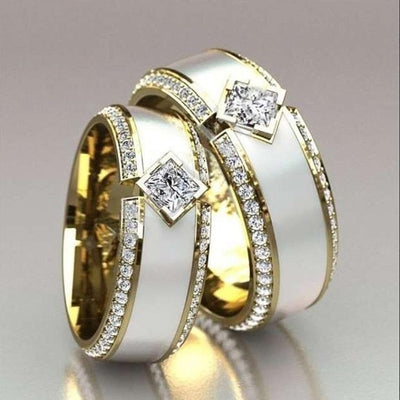 18K Yellow Gold Ring Couples Ivory White Diamond Jewelry  Engagement Ring