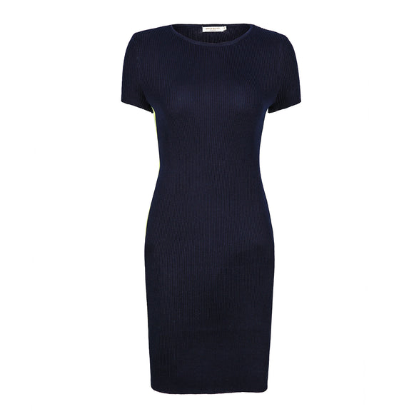 Women's Short Sleeve Elegant Basic Bodycon Pencil Stripe Ribbed Dress Navy