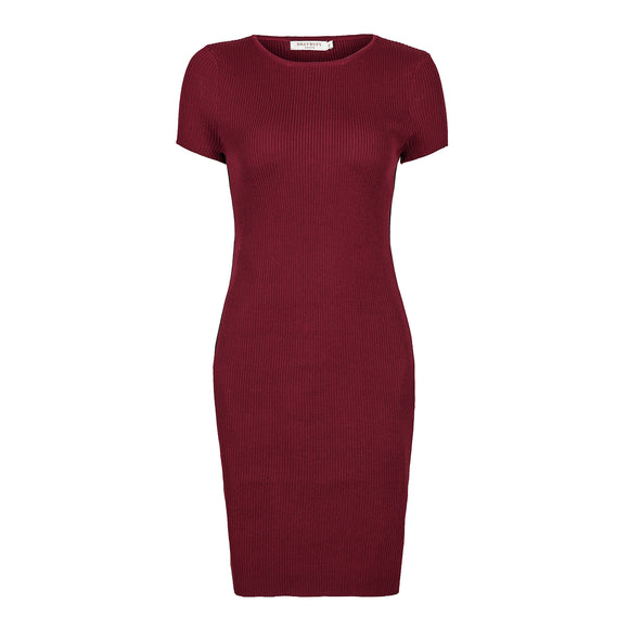 Women's Short Sleeve Elegant Basic Bodycon Pencil Stripe Ribbed Dress Burgundy