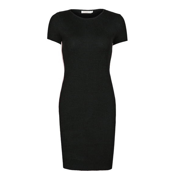 Women's Short Sleeve Elegant Basic Bodycon Pencil Stripe Ribbed Dress Black