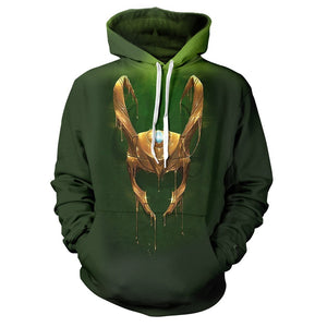 Popular Avengers Loki Cosplay 3D Printed Long Sleeve Hoodie