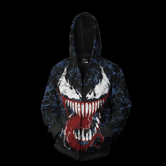 Marvel Venom Zip Up Hoodie Jacket for Adults and Youth
