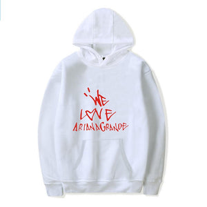Ariana Grande Red One Love Print Casual Hoodie Pull Over Sweatshirt