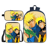 Anime Naruto Students Backpack  Bookbag With Lunch Box and Pencil Case For Boys and Girls