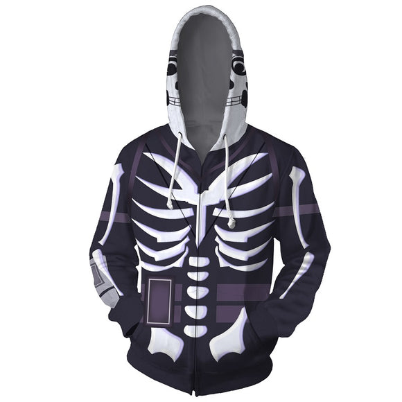 Fortnite Skeleton Zip UP Hoodies Jacket