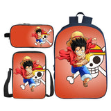Anime ONE Piece 3D Print 3PCS Backpack Set Youth Backpack With Lunch Box and Pencil Case