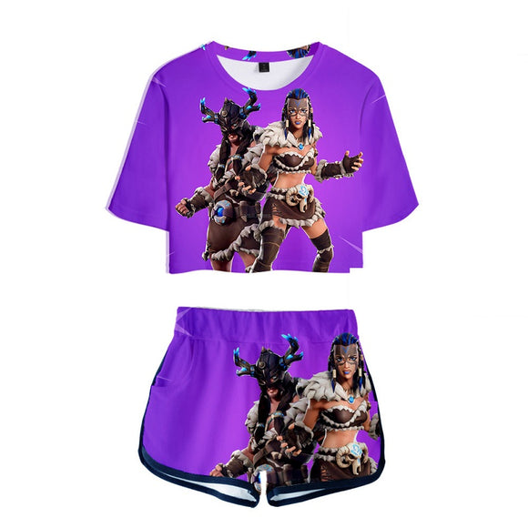 Fortnite 3D Print Crop Top Shirt and Shorts Suit