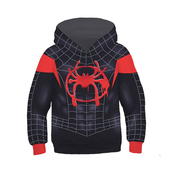 Into The Spider-Verse Miles Morales Hoodie Sweatshirt For Kids