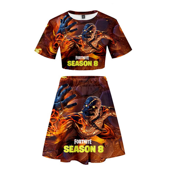 Fortnite Crop Top Shirt and Skirt Suit