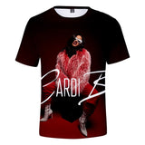 Womens Cardi B Rapper 3D Digital Print Polyester T Shirt,Hip Hop Casual Loose Short Sleeve Top Blouse