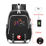 Roblox Large Capacity R Print Backpack for School With USB Charging Port