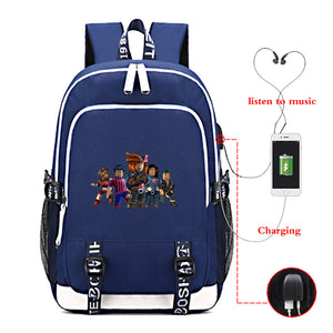 Roblox Large Capacity Backpack for School With USB Charging Port