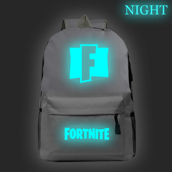 Fortnite Glow In The Dark F Print Backpack Students Bookbag