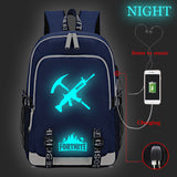 Fortnite Big Capacity Rucksack Youth Teenagers Backpack Glow In The Dark  With USB Charging Port