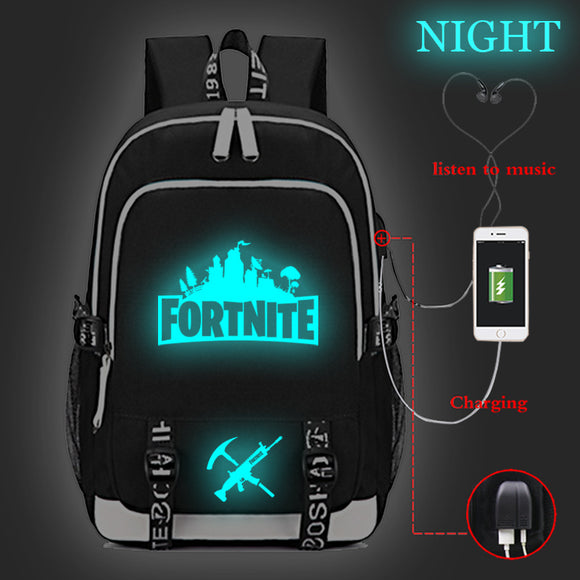 Fortnite Big Capacity Rucksack Youth Teenagers Polyester Backpack Glow In The Dark  With USB Charging Port