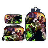 Marvel Deadpool Three-piece Suit Backpack Polyester School Bag With Lunch Bag and Pencil Bag Set
