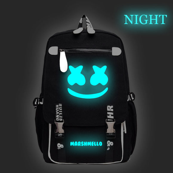 DJ Marshmello Backpack Luminous Smiley Face School Backpack Bookbags
